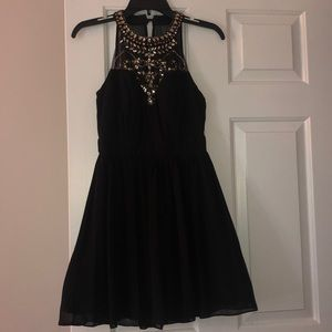 Black Formal Dress with Gold Sequins